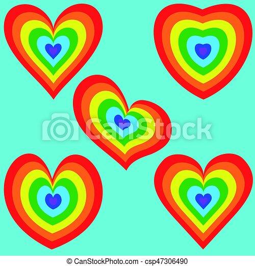 tęcza, 2, komplet, serce - csp47306490