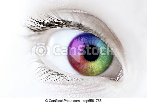 tęcza, closeup, oko - csp6581768