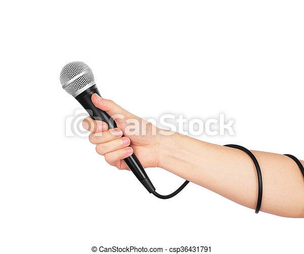 tło., biały, mikrofon, samicza ręka - csp36431791