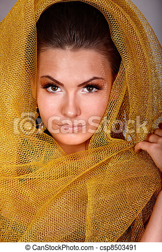 tło., kobieta, młody, szary - csp8503491