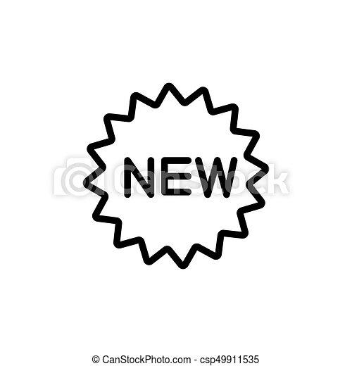 tło, nowy, kreska, odznaka, biały, ikona - csp49911535