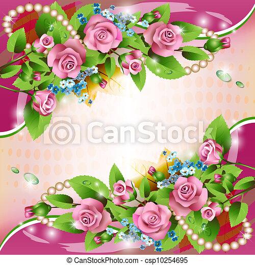 tło, różowe róże - csp10254695