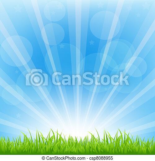 tło, zielony, sunburst - csp8088955