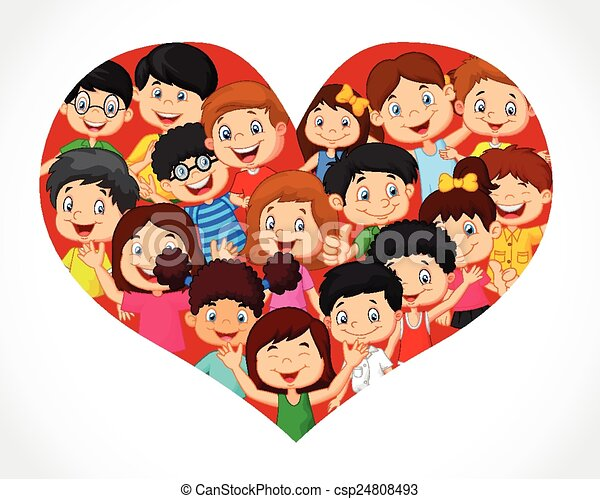 Tłum, rysunek, serce, dzieci. Serce, formacja, tłum, ilustracja ...