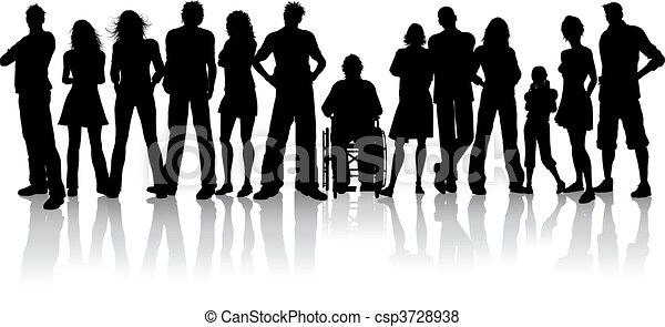 tłum, wielki, ludzie - csp3728938