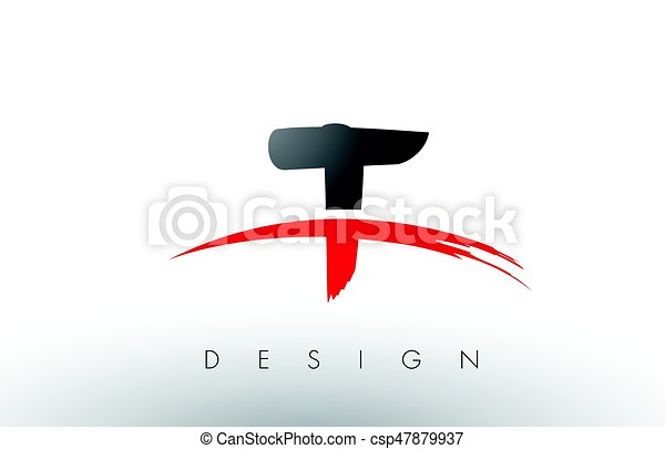t brush logo letters with red and black swoosh brush front rh canstockphoto com