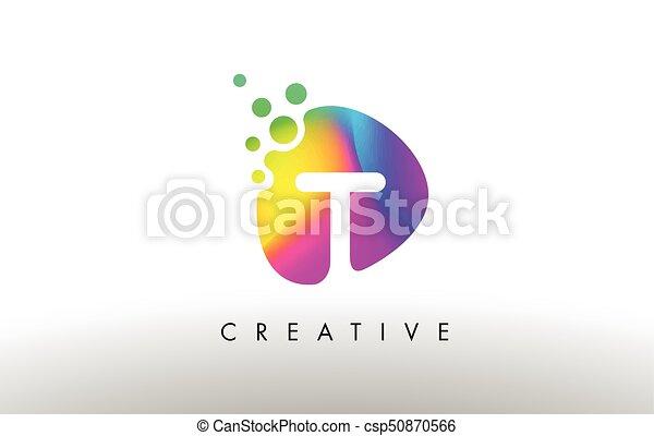 T Colorful Logo Design Shape. Purple Abstract Shape Letter Icon. - csp50870566