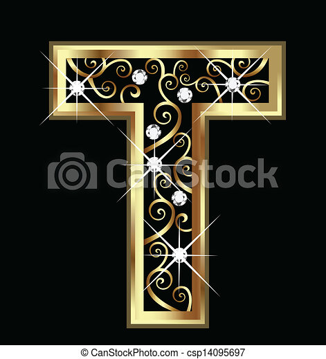 T gold letter with swirly ornaments - csp14095697
