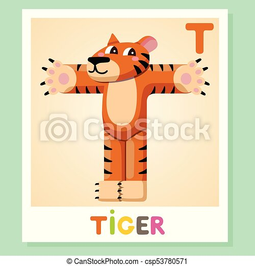 T Is For Tiger Letter Cute Illustration Animal Alphabet