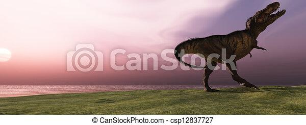 T-Rex at Sunrise - csp12837727