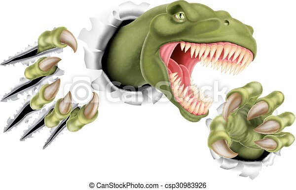T Rex Dinosaur Claws Ripping - csp30983926