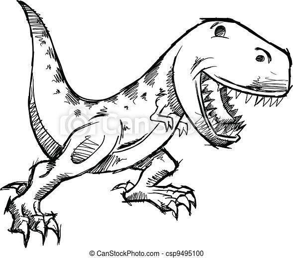 T Rex Dinosaur Doodle Sketch Vector