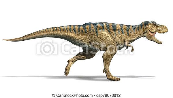 T Rex Dinosaur Running Side View T Rex Dinosaur Running Photorealistic 3d Illustration Side View On White Background