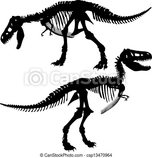 T Rex Skeleton Editable Vector Silhouettes Of The Skeleton Of A