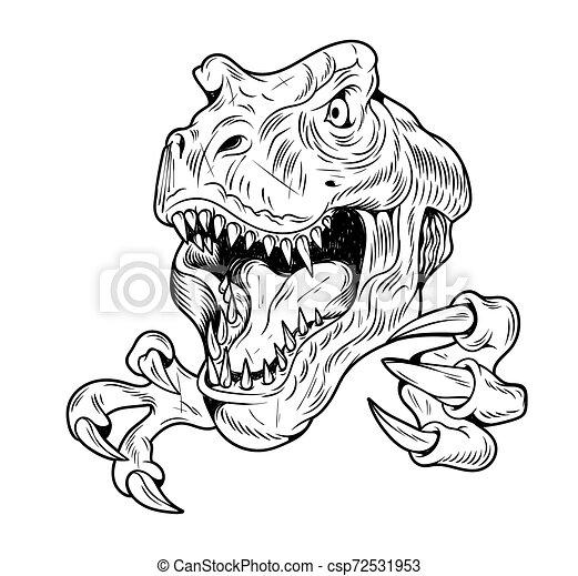 T Rex Tyrannosaurus Rex Big Dangerous Head Of Dino Dinosaur Cartoon Illustration Drawing Engraving Ink Line Art Vector