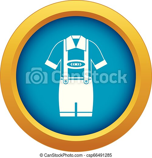 T-shirt and pants with suspenders icon blue vector isolated - csp66491285