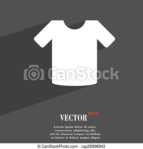 T-shirt, Clothes icon symbol Flat modern web design with long shadow and space for your text. Vector - csp26896843