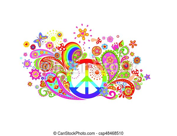 T-shirt colorful print with abstract flowers, hippie peace symbol and rainbow - csp48468510