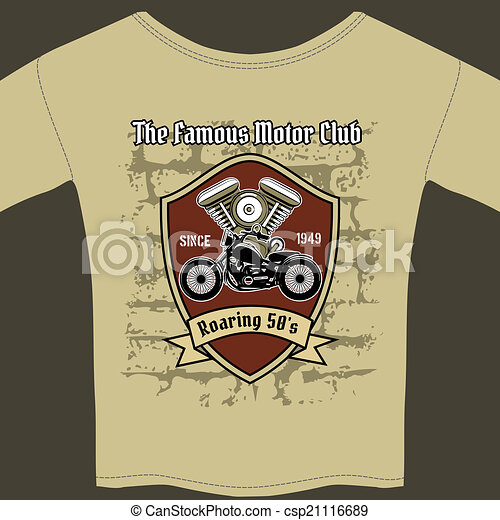 T-shirt design for a Motorcycle workshop - csp21116689
