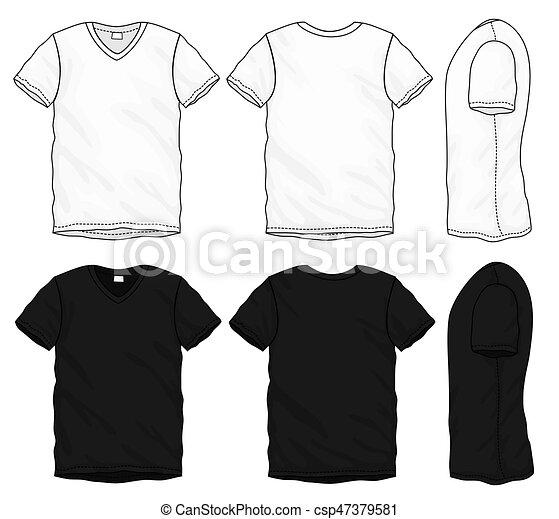 T-shirt, design, schablone, v-ausschnitt, schwarz, weißes. Vektor, t ...