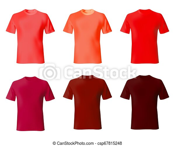 T Shirt Design Template Set Men Shirts Red Color Realistic