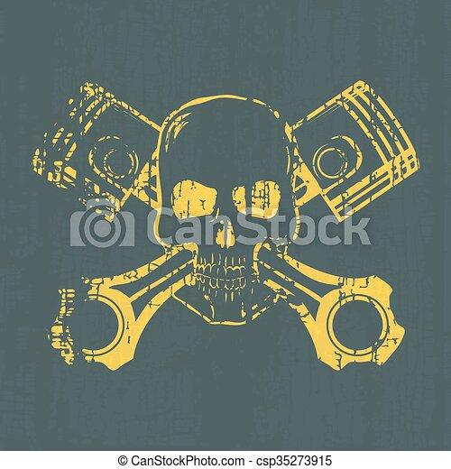 t-shirt, graphic., vetorial, pistons., cranio - csp35273915