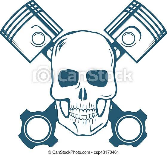 t-shirt, graphic., vetorial, pistons., cranio - csp43170461