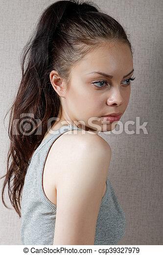 t-shirt, gris, girl, portrait - csp39327979