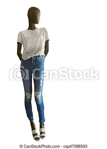 8ec5a3b619e0e0 t-shirt, habillé, jean, mannequin, femme