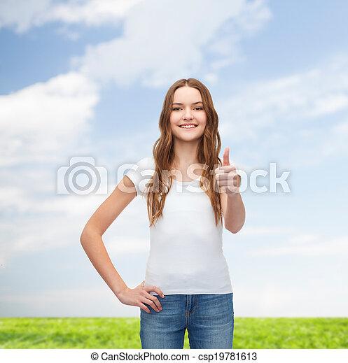 t-shirt, het glimlachen, witte , tiener, leeg - csp19781613
