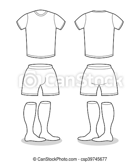 T-shirt, kurze hosen, fußball, kurve, struempfe, sport, probe, form ...