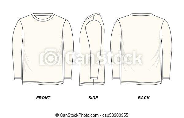 T-shirt, lang-ärmel, schablone. Seite, lang-ärmel, bild ...