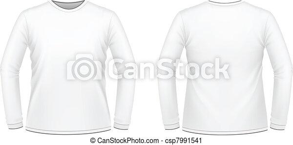 t-shirt, lang-sleeved, witte  - csp7991541