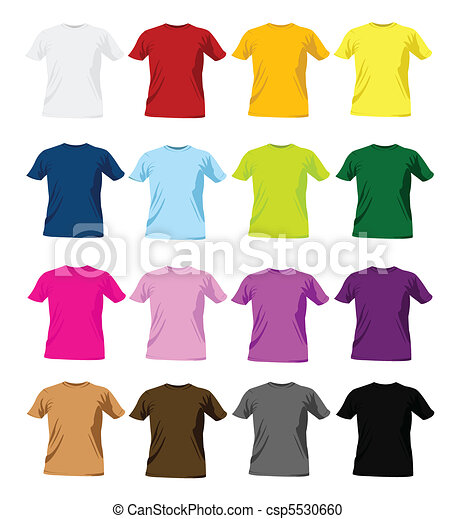 t-shirt, mallar, design, färgrik - csp5530660