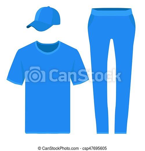 t shirt pants and baseball cap design templates vector