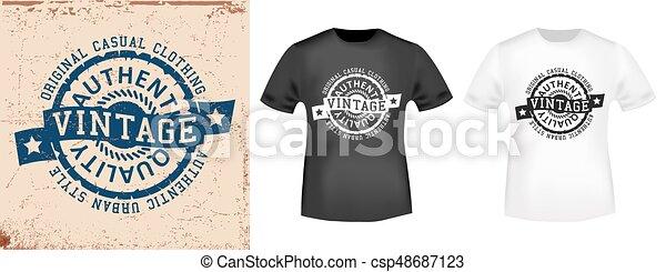4b0b1b7da T-shirt print design. vintage stamp and t shirt mockup . printing and badge  applique label t-shirts, jeans, casual wear. vector illustration.