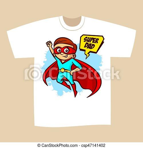 5df1f120 T-shirt print design superhero dad sticker vector illustration.
