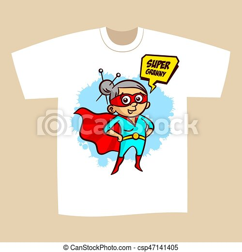 02c42d2e T-shirt print design superhero granny sticker vector illustration.