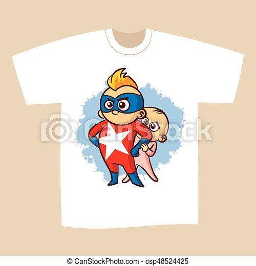 e7efe17d T-shirt print design superhero vector illustration.