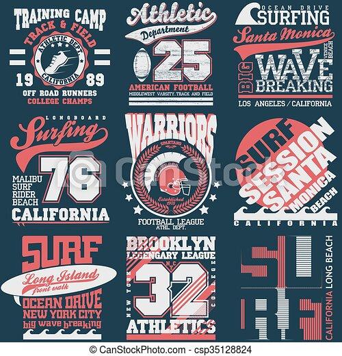 2d30a30b6 Sport typography graphics emblem set, t-shirt printing design ...