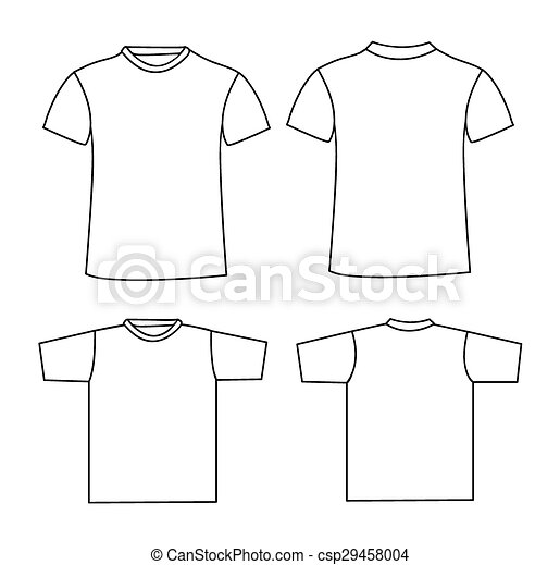 T-shirt, schablone, leer. T-shirt, front, template., zurück, leer.