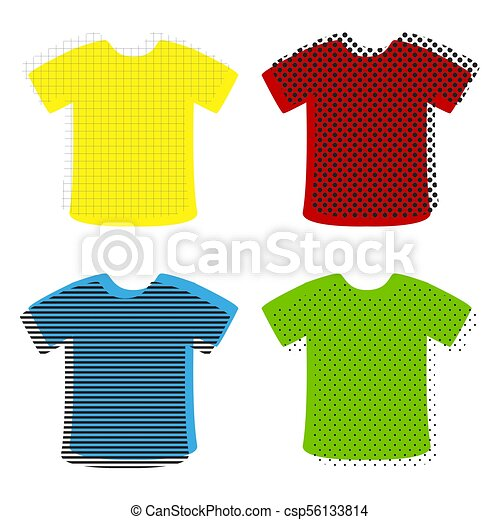 T-shirt sign  Vector  Yellow, red, blue, green icons with their