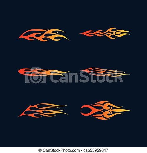 t-shirt, styl, sztuka, płomienie, ogień, plemienny, ozdoba, grafika, pas, wektor, winyl, pojazd, gotowy, capstrzyk, design. - csp55959847