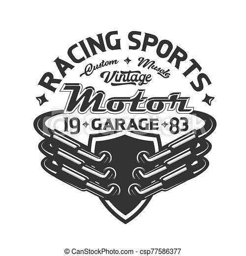 t-shirt, tävlingsbil, utströmning, print., röret, motorsport - csp77586377