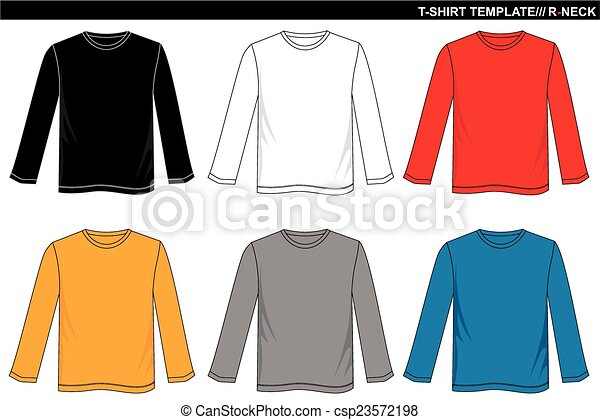 T-shirt template long sleeve with color black white red blue... eps ...