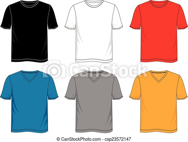T-shirt template with color black white red blue gray yellow eps ...