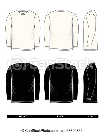 T-shirt template long sleeve black and white. T-shirt template long ...