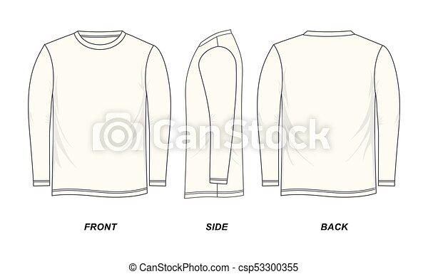 T-shirt template long-sleeve, front, side, back, isolated on a white ...