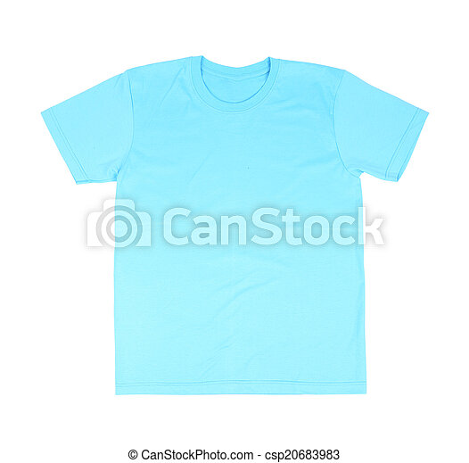 Blue T Shirt Template Front Side On White Background