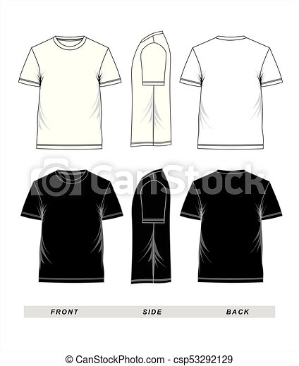 T-shirt template short sleeve black and white. T-shirt template ...